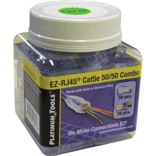Platinum Tools EZ-RJ45 Cat5e 50/50 Combo EZ Connectors 100/jar