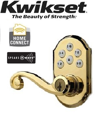 99120-004-Polished-Brass, Kwikset Traditional Leverset,