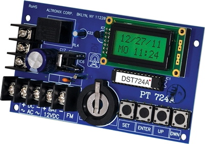 Altronix PT724A Timer (365 Day 24 Hour Annual Event, 1 Channel, LCD Display, Battery Charger, Board)