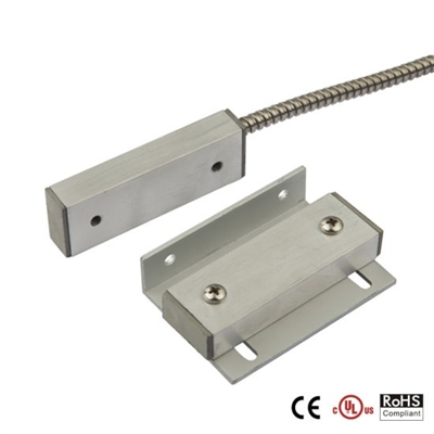 Quick Switch QS-912MA-P Surface Mount Metal Magnetic Door Contact w/ Protected Cable (Closed Loop)