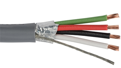 18 AWG 4 Conductor Shielded CMR, 1000 ft Gray Cable