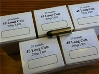 45 Long Colt 200gr Lead Flat Nose Ammunition -- 100 Rounds