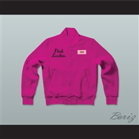 Jan Pink Ladies Letterman Jacket-Style Sweatshirt Hot Pink