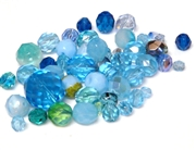 10gm Assorted Czech Fire polish Bead mix blue