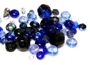 10gm Assorted Czech Fire polish Bead mix dark blue mix