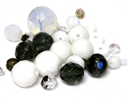 10gm Assorted Czech Fire polish Bead mix white & black diamond