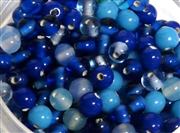 50pc glass round beadmix 4-5mm blue mix