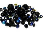 10gm Assorted Czech Fire polish Bead mix black ab