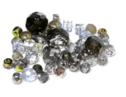 10gm Assorted Czech Fire polish Bead mix mirror silver