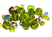 10gm Assorted Czech Fire polish Bead mix olivine