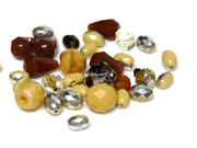 10gm Assorted Czech Fire polish Bead mix brown milky