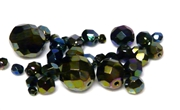 10gm Assorted Czech Fire polish Bead mix metallic green