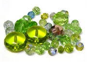 10gm Assorted Czech Fire polish Bead mix green light