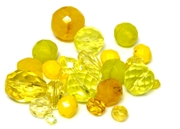 10gm Assorted Czech Fire polish Bead mix yellow