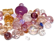 10gm Assorted Czech Fire polish Bead mix pink