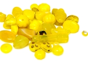 20gm czech glass beadmix mixed canary yellow