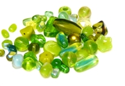 20gm czech glass beadmix mixed light green