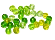 35pc czech glass round beadmix green 6mm