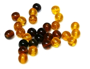 25pc czech glass round beadmix topaz & brown mix 6mm