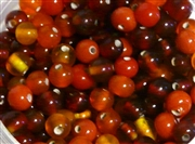 50pc glass round beadmix 4-5mm red mix