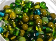 50pc glass round beadmix 4-5mm green mix