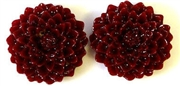 4pc resin flower cabochon 25mm red