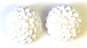 2pc resin flower cabochon 15mm white