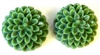 8pc resin flower cabochon 15mm green