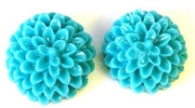 2pc resin flower cabochon 15mm teal