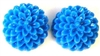 8pc resin flower cabochon 15mm blue