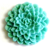 2pc resin cabochon chrissie flowers 22mm teal