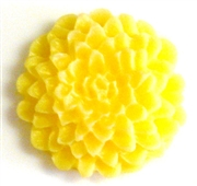 2pc resin cabochon chrissie flowers 22mm lemon