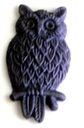 2pc resin cabochon owls 15x25mm plum purple