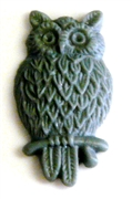 2pc resin cabochon owls 15x25mm dark grey