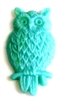 2pc resin cabochon owls 15x25mm teal