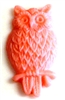2pc resin cabochon owls 15x25mm cotton candy