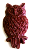2pc resin cabochon owls 15x25mm burgundy