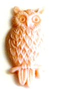 2pc resin cabochon owls 15x25mm rose