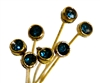 4pc crystal end headpins 50mm teal green & gold plated