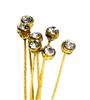 4pc crystal end headpins 50mm clear crystal & gold plated