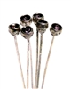 4pc crystal end headpins 50mm amethyst & silver plated
