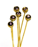 4pc crystal end headpins 50mm amethyst & gold plated