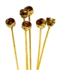 4pc crystal end headpins 50mm smokey topaz & gold plated