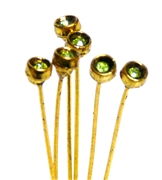 4pc crystal end headpins 50mm peridot green & gold plated