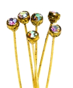 4pc crystal end headpins 50mm clear ab & gold plated