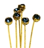 4pc crystal end headpins 50mm montana blue & gold plated