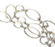 Antique Silver Oval & Round Chain 50CM Length