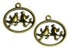 4pc antique brass birds in a circle charms 25x25mm