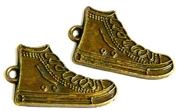 4pc antique brass sneaker charms 29x16mm