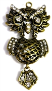 1pc moveable owl antique brass filigree rhinestone 75x35mm